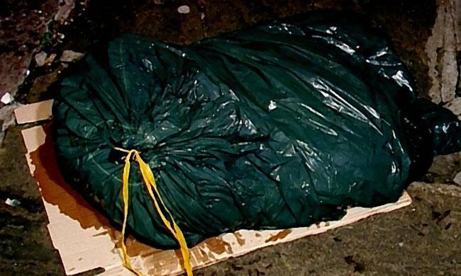 Un sacco della spazzatura che perde strani liquidi