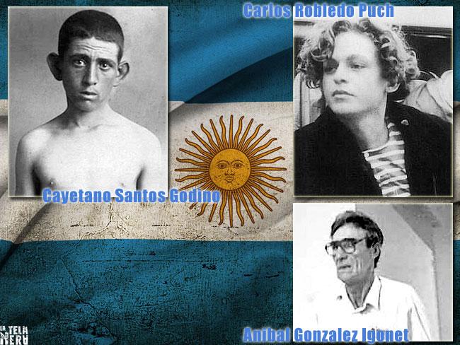 Le foto di alcuni famosi serial killer argentini: Santos Godino, Gonzalez Igonet, Robledo Puch
